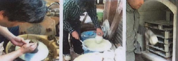 1.生地を作り、釉薬をかけガス窯で焼成。