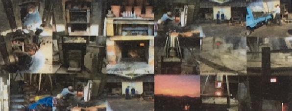 2. 薪窯に入れ、灰かぶり焼成をする。